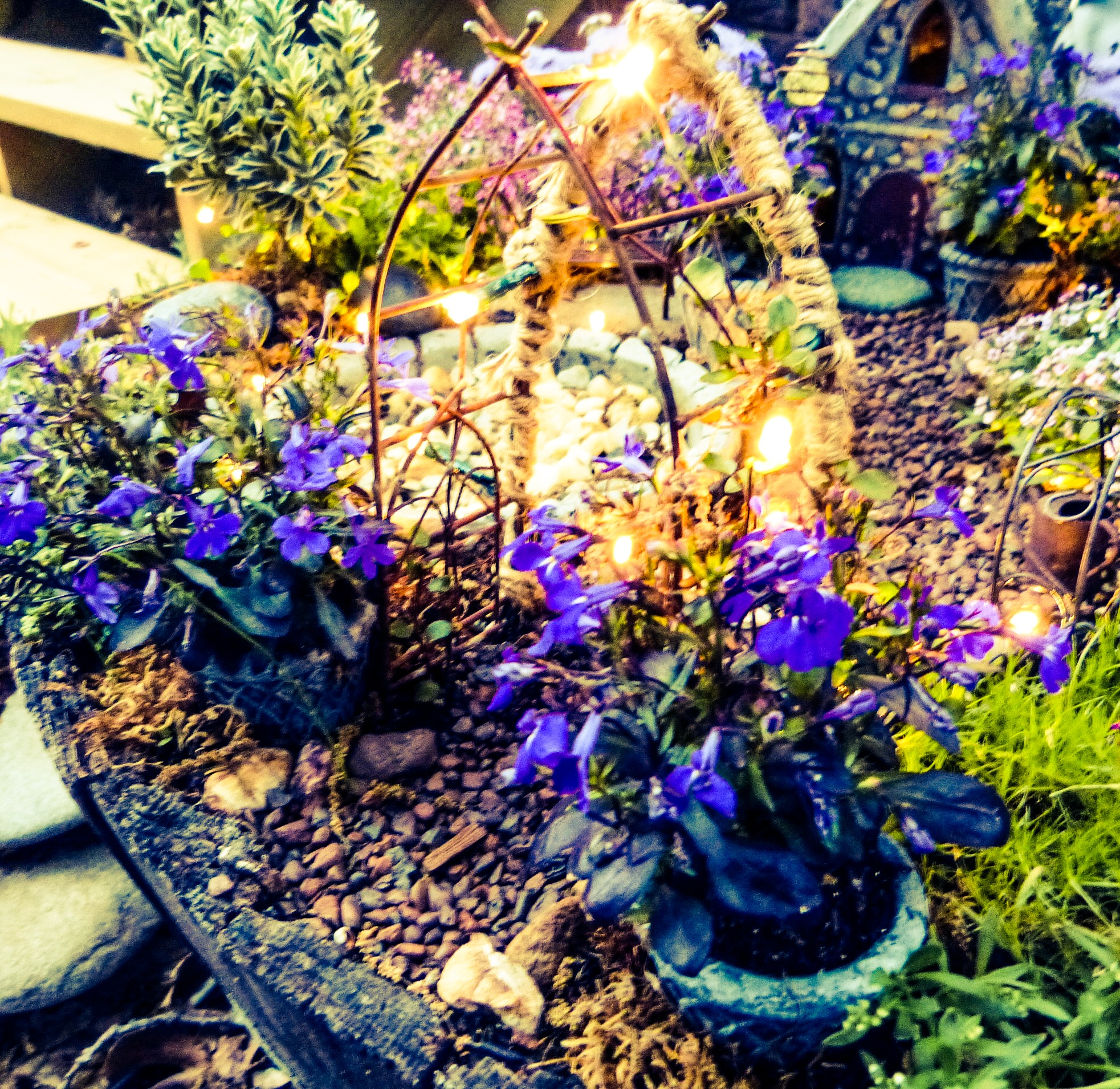 ... Fairy Garden. Arbor At Night