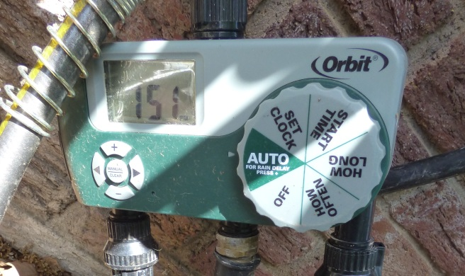 orbit timer connected to drip irrigation