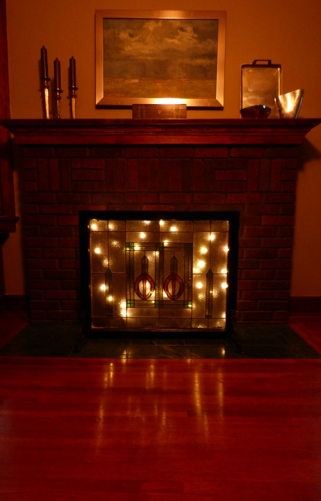 Stained Glass Fireplace Screen with Christmas lights